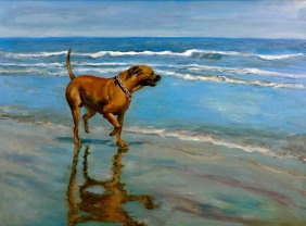 dog on beach painting